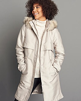 Soft Stone Luxe Parka Coat