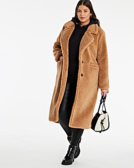 Dark Tan Longline Teddy Faux Fur Coat