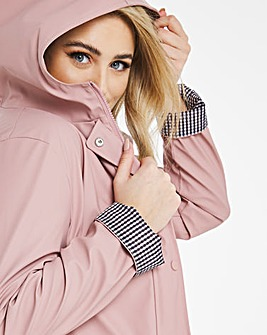 Dusky Pink Coated Raincoat With Gingham Printed Lining