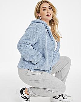 Dusky Blue Super Soft Hoodied Teddy Fleece Jacket