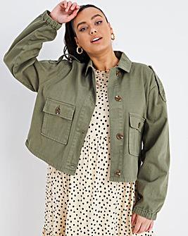 Khaki Cropped Utility Jacket