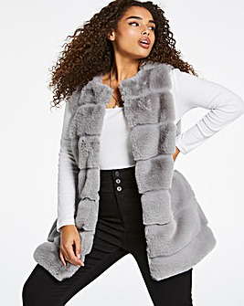 Grey Stepped Faux Fur Gilet