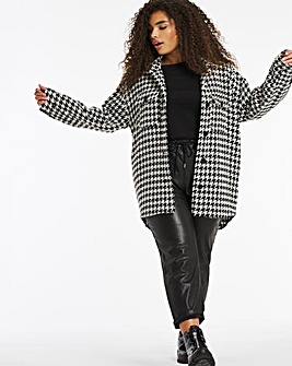 Relaxed Dogtooth Check Shacket