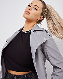 Grey Oversized Relaxed Biker Jacket