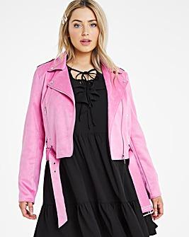 Bright Pink Suedette Biker Jacket