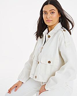 Ecru Cropped Utility Jacket