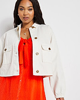 Ecru Cropped Utility Jacket