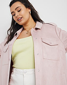 Pale Pink Relaxed Suedette Shacket