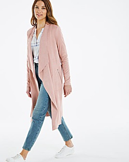 Longline Belted Suedette Waterfall Jacket with Jersey Panel Sleeves