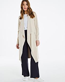 Longline Belted Suedette Jacket