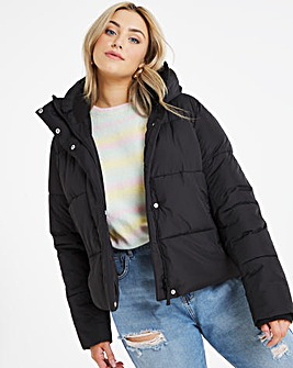 Black Short Padded Duvet Coat