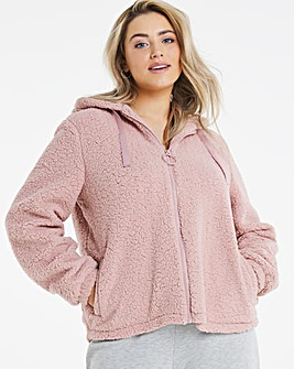 Dusky Pink Super Soft Hoodied Teddy Fleece Jacket