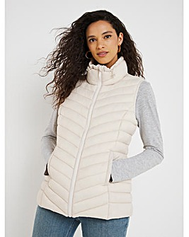 Ecru Lightweight Padded Gilet with Recycled Padding