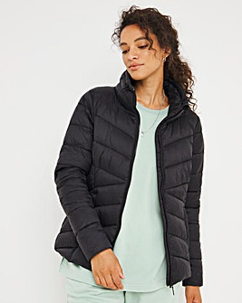 Black Lightweight Short Puffer Jacket with Recycled Padding