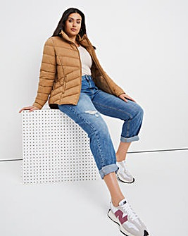 Caramel Lightweight Short Puffer Jacket with Recycled Padding