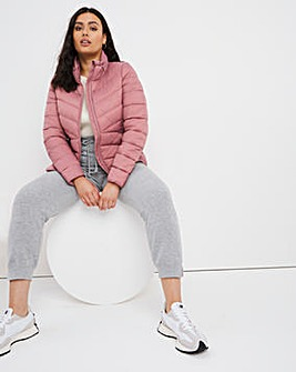Dusky Rose Lightweight Short Puffer Jacket with Recycled Padding