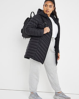 Black Lightweight Mid Length Puffer Jacket with Recycled Padding
