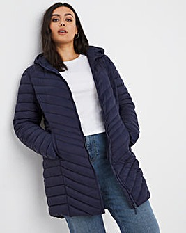 Navy Lightweight Mid Length Puffer Jacket with Recycled Padding