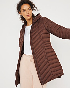 Chocolate Lightweight Mid Length Puffer Jacket with Recycled Padding