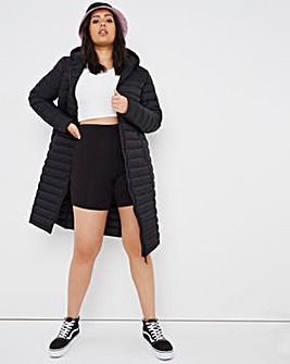 Black Lightweight Long Puffer Jacket with Recycled Padding