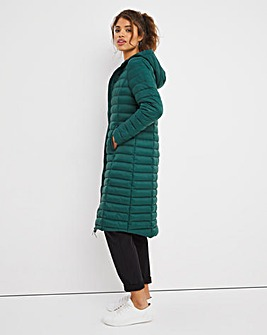 Forest Green Lightweight Long Puffer Jacket with Recycled Padding