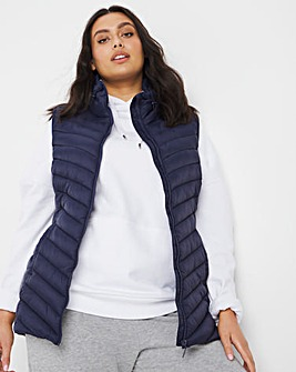 Navy Lightweight Padded Gilet with Recycled Padding