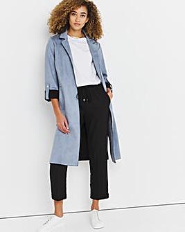 Dusky Blue Longline Suedette Jacket
