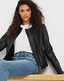 Collarless Leather Biker