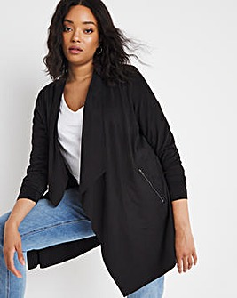 Black Suedette Waterfall Jacket with Jersey Panel Sleeves