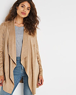 Camel Suedette Waterfall Jacket with Jersey Panel Sleeves