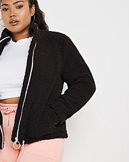 Black/Pink Contrast Teddy Fleece