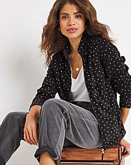 Black Mono Spot Print Fleece Jacket