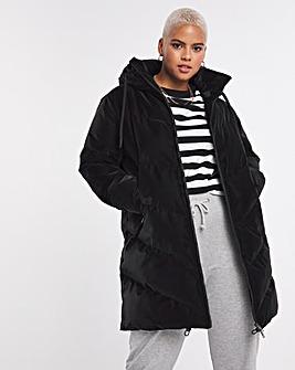 Black Velvet Effect Padded Duvet Coat