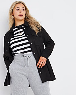Black Relaxed Suedette Shacket