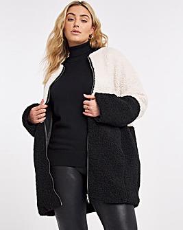 Black & Cream Colour Block Teddy Coat