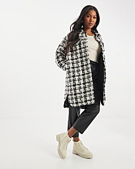 Longline Checked Shacket with Padded Inner