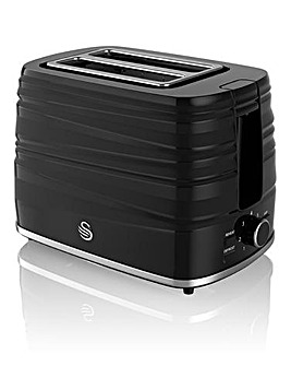 Swan Twist 2 Slice Black Toaster