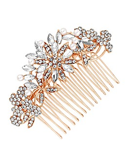 Mood Crystal Floral Hair Comb