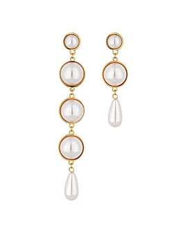 Mood Gold Pearl Mismatch Drop Earring