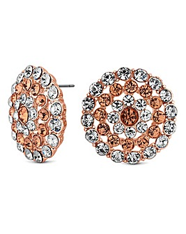 Mood Rose Gold Crystal Disc Stud Earring