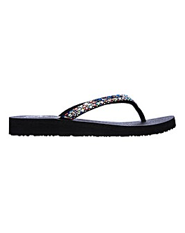 Skecher Meditation Shine Away Toe Post Flip Flops Sandals Standard D Fit
