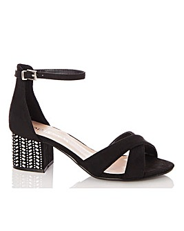 Quiz Block Heel Detail Sandals Wide Fit