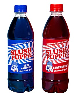 Slush Puppie 500ml Blue Raspberry and Red Cherry Twin Pack