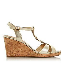 Dune Koala Back Strap Wedge Sandals Wide E Fit.