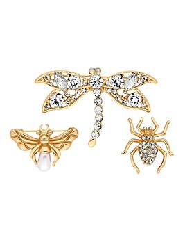 Mood Crystal Bug Brooch Set