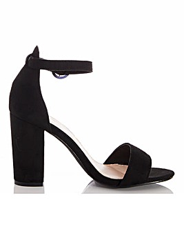 Quiz Block Heel Barely There Sandals Wide E Fit