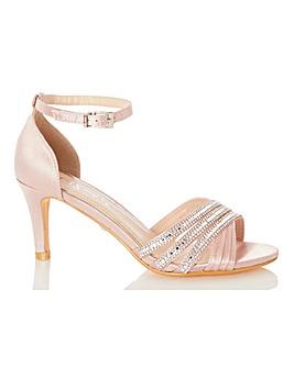 Quiz Diamante Detail Sandals Wide E Fit