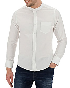 White Long Sleeve Grandad Stretch Oxford Shirt Regular