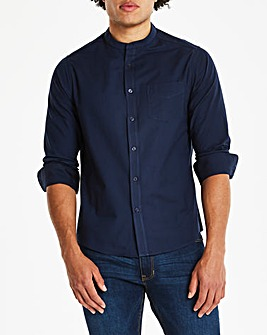 Navy L/S Stretch Grandad Oxford Shirt