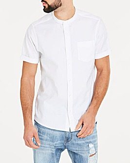 White S/S Stretch Grandad Oxford Shirt